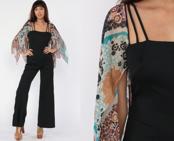 70s Jumpsuit Bell Bottom ANGEL SLEEVE One Piece Boho Floral Print Cut Out Romper Black Bohemian Hippie Party Pantsuit 1970s Small Medium