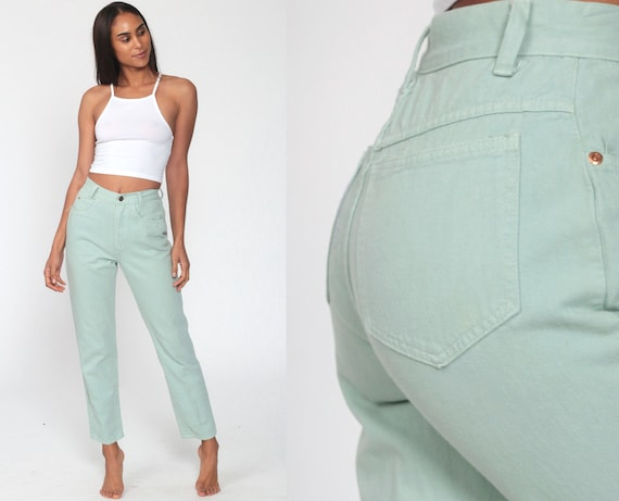 Mint Pastel Jeans XS -- Tapered Leg 90s Jeans Mom