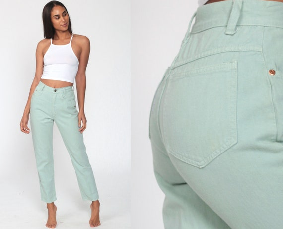 Mint Pastel Jeans XS -- Tapered Leg 90s Jeans Mom Jeans Colored High Waisted Denim Pants Light Green Cotton Pants 1990s Extra Small 26