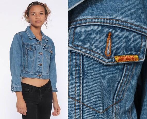 Jordache Jean Jacket 80s Denim Vintage Cropped Blue Button Up 1980s Coat Classic Hipster Crop Biker Women Extra Small xs xxs