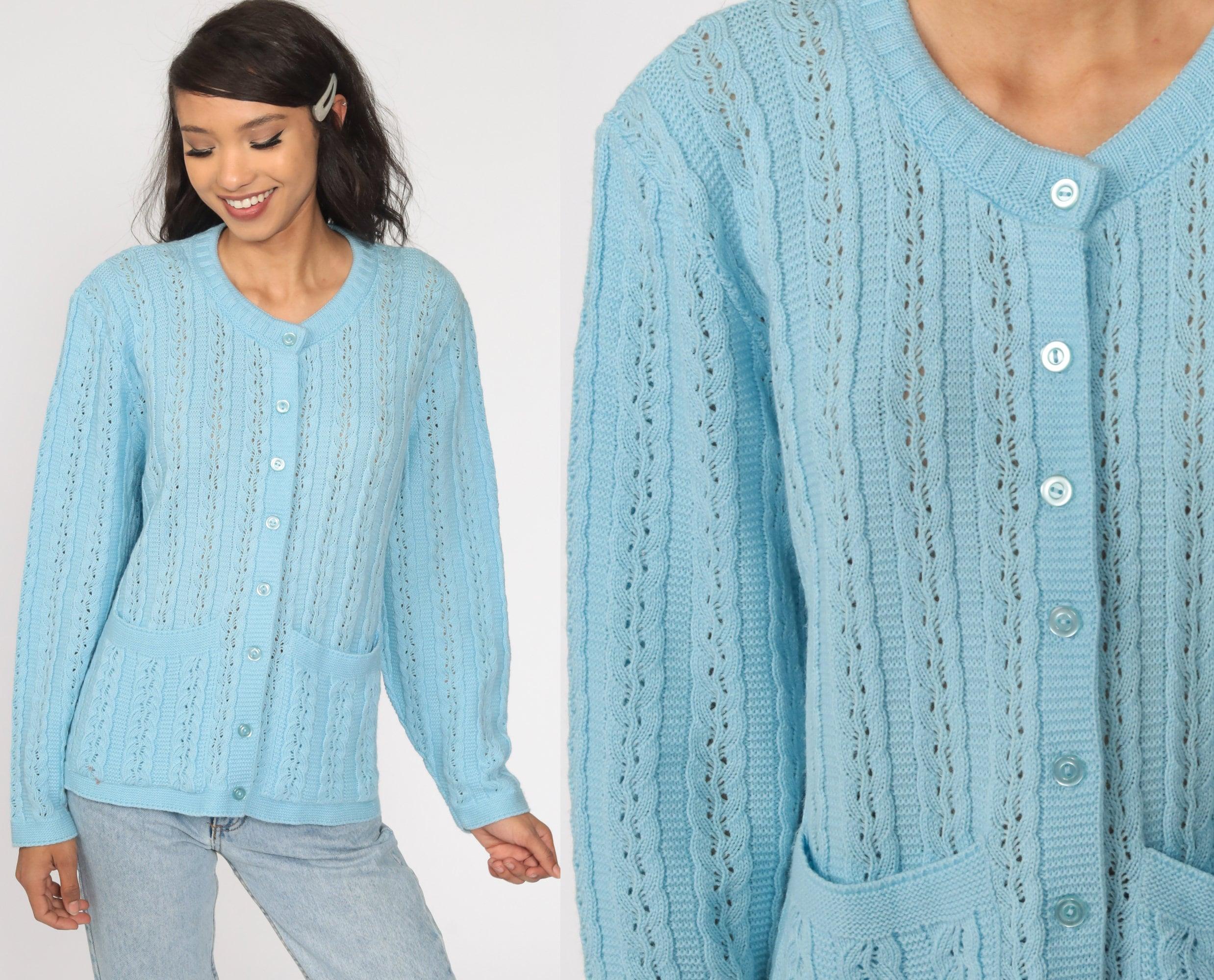 vintage 1970s pointelle sweater 70s navy sweater vest open weave knit tee layering lightweight sweater