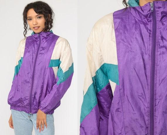 Purple Windbreaker Jacket 90s Shiny Striped Jacket Warmup Color Block Vintage 1990s Zip Up Warm Up Medium