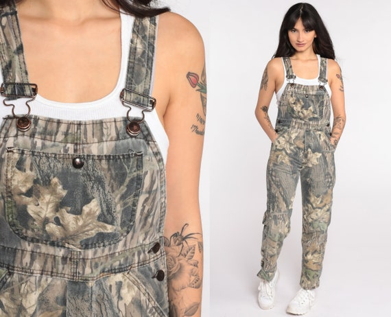 Camouflage Overalls 90s Pants Hunting Pants Bib Camo OVERALLS Army Pants Camo Realtree Dungarees Vintage Extra Small xs Petite