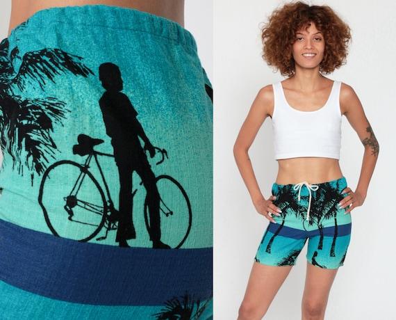 Beach Shorts 2xs -- 70s Tropical Palm Tree Shorts Swim Trunks BICYCLE PRINT High Waist Barkcloth Summer Retro Hawaiian Blue Extra Small xxs