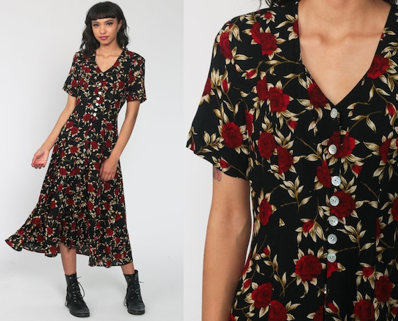 Floral Grunge Dress 90s Black Floral Dress Button Up Boho Midi 80s 1990s High Waist Bohemian Short Sleeve Medium 8