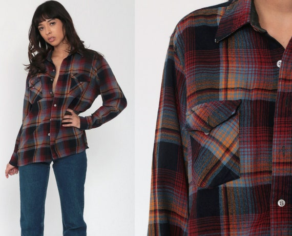 70s Plaid Shirt 70s Red Blue Flannel Navy Lumberjack Jacket Button Up Long Sleeve 1970s Grunge Vintage Medium Large