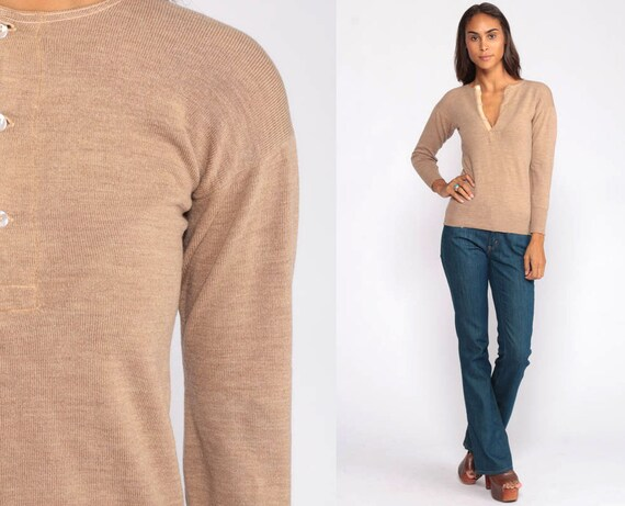 Wool Undershirt Henley Shirt Long Sleeve POLO Shirt 60s T Shirt Morely England Shirt Brown Retro Vintage Plain Extra Small xs