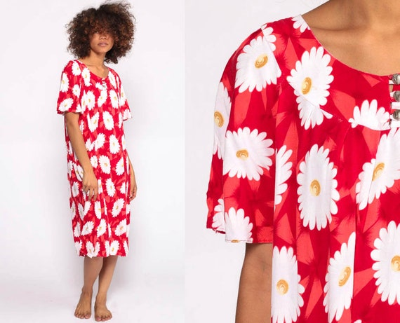 Red Floral Dress 90s Beach Cover Up Midi Trapeze Tent Dress Lounge Dress White Boho Summer 1990s Rayon Dress Vintage Small Medium Large xl