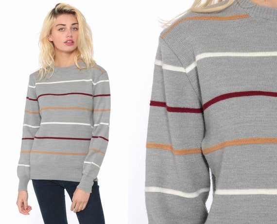 Grey Striped Sweater Knit Sweater 80s Pullover Grey Sweater Retro Nerd Slouch Hipster Jumper Vintage Grunge Extra Small xs