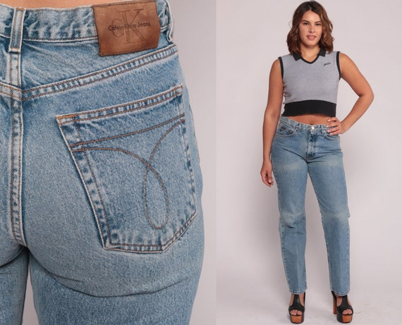 Calvin Klein Jeans 90s Jeans High Waisted Jeans Mom Jeans CK Denim Pants Tapered Blue 1990s Vintage Hipster Large 12