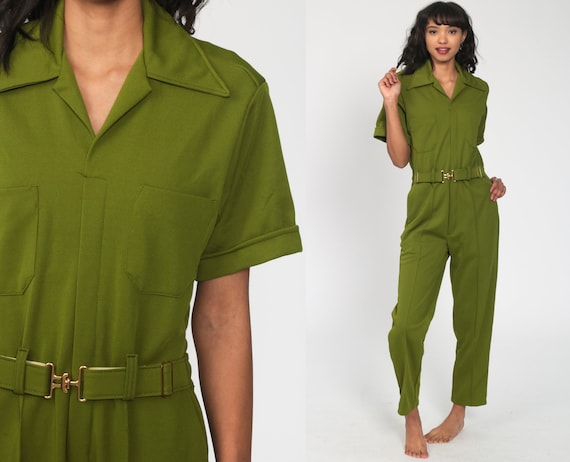70s Jumpsuit Green Utility Pantsuit Boilersuit Romper Pants Boiler Suit Vintage Straight Leg 1970s High Waisted Workwear Small Medium