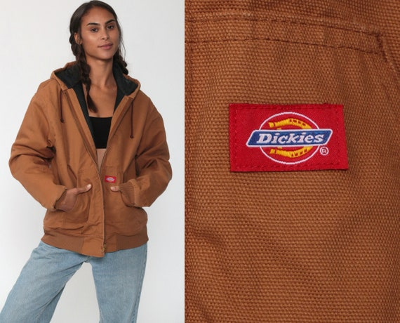 Brown Dickies Jacket Hooded Jacket Hoodie Workwear Cargo Jacket Hood Coat Utility Vintage Utilitarian Work Wear Medium Large