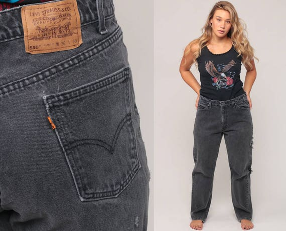 Black Levis Jeans Boyfriend Jeans High Waist Mom 80s DISTRESSED Levi Denim Pants 550 Vintage Hipster Baggy Straight Leg Large 35 12 14