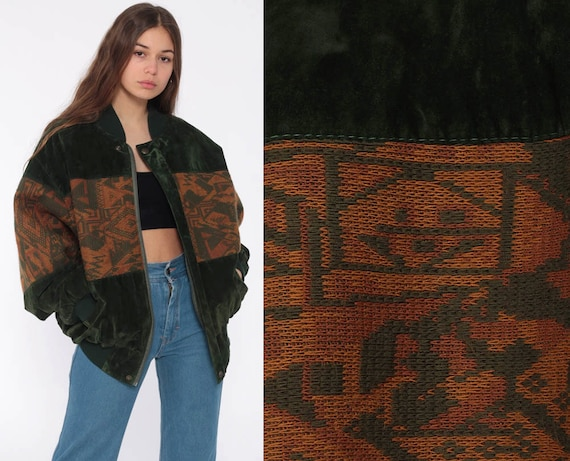Velvet Bomber Jacket Green 80s Boho Coat Cafe Racer Vegan Tribal Southwestern Hippie Jacket Moto 1980s Bohemian Extra Large xl