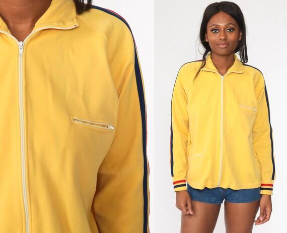 Retro Track Jacket Yellow Zip Up Jacket 70s Striped Jacket Sport Plain Retro Vintage Tracksuit Tennis Jacket Medium Large