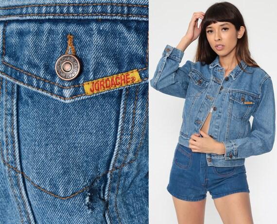 JORDACHE Denim Jacket 80s Jean Jacket Grunge Biker Trucker Blue 1980s Vintage Button Up Hipster 90s Extra Small xs