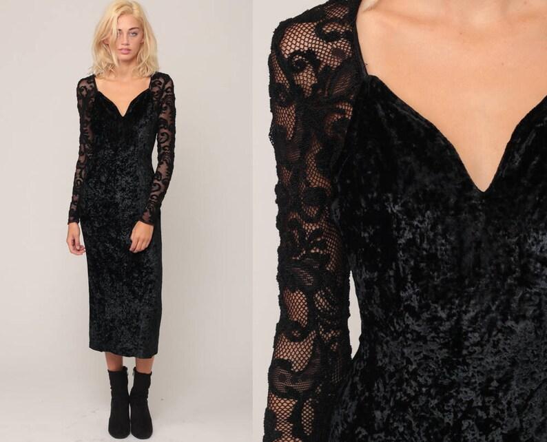 9d60a66c4b3 Velvet Lace Dress 90s Black Velvet SHEER LACE MESH Party Vamp