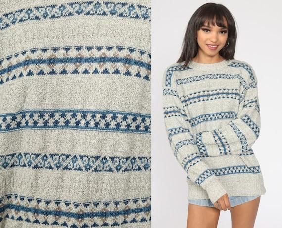 Grey Striped Sweater 90s Pullover Sweater Grunge Oversize Slouchy Statement Cotton Knit 1990s Vintage Medium