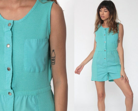 80s Romper Playsuit Turquoise Summer One Piece Jumpsuit Shorts Bright Blue Cotton Sleeveless 1980s Button Up Vintage High Waist Tank Small