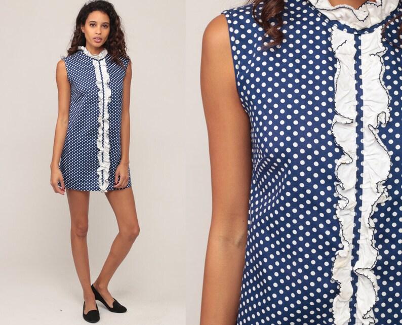 e17baead73 Mod Mini sukienka Bib 70s TUXEDO WZBURZYĆ sukienka Grochy 60s