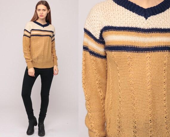 V Neck Sweater 70s Sweater STRIPED Sweater SHEER Knit 80s Bohemian Hippie Pullover Vintage Boho Jumper Tan Blue Medium