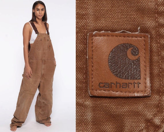 Carhartt Overalls Workwear -- Coveralls 90s Baggy Pants Flannel Lining Dungarees Brown Workwear Long Wide Leg Bib Vintage Extra Large xl l