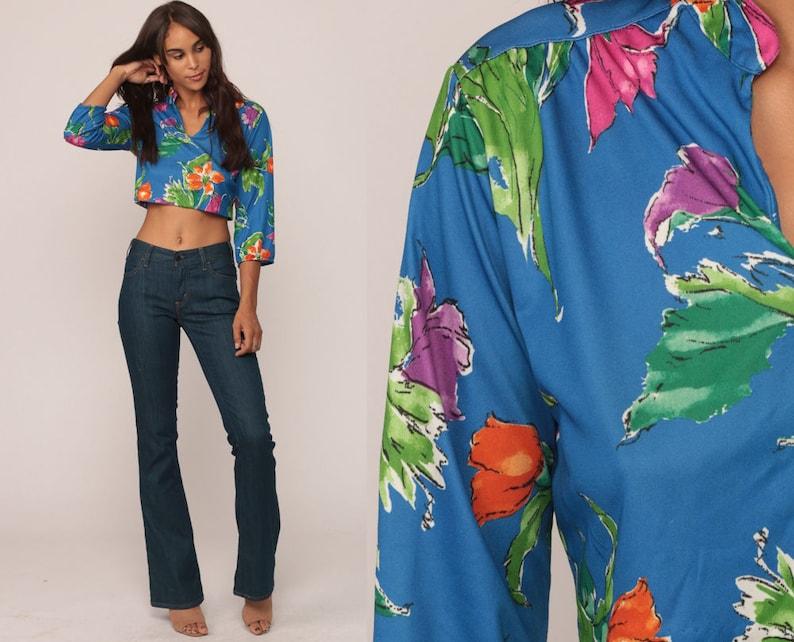 92a57a350 Floral Blouse 70s Shirt Boho Crop Top Bohemian House 1970s