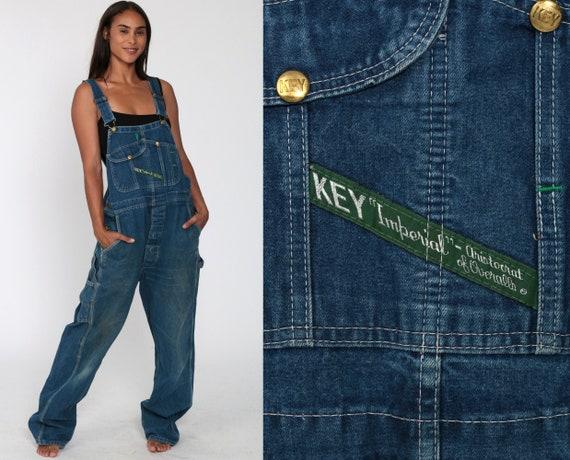 Key Overalls 90s Bib Denim Pants Jean Dungarees KEY IMPERIAL Wide Leg Baggy Coveralls Long Grunge Blue Carpenter Extra Large XL