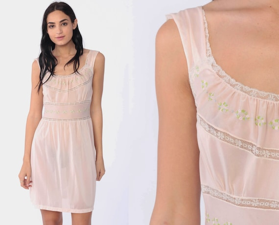 Pastel Lingerie Nightgown 34 -- Baby Pink Babydoll Slip Dress 70s Nightgown Sheer Mini Pin Up 1970s Vintage Pinup Small