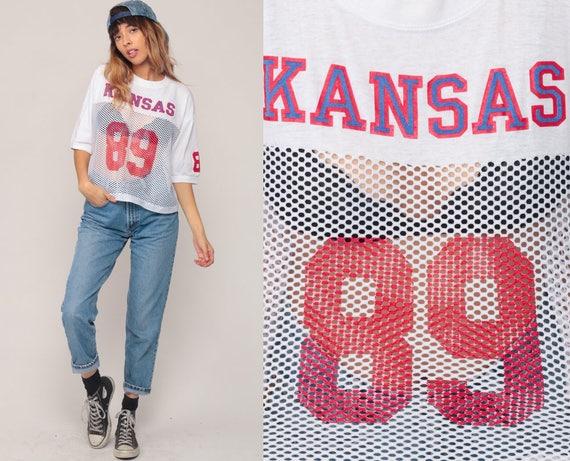 Kansas Jayhawks Shirt 1989 University Football Jersey 89 MESH White Sheer 80s College Football T Shirt Sports Vintage Throwback Extra Large