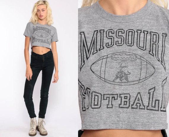 Missouri Football Shirt Football Crop Top 80s Vintage Sports T Shirt Graphic Tee 1980s Retro TShirt Grey Print Small
