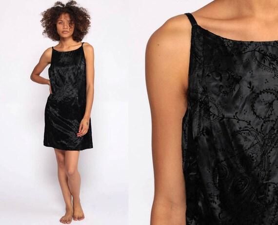 Black Satin Dress Mini Dress 90s Party Dress Shift Sleeveless Paisley Dress Y2K Vintage 1990s LBD Retro Boho Cocktail Dress Minidress Small