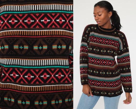 Oversized Geometric Sweater 90s Sweater DIAMOND Print Knit Jumper 80s FUNNEL Neck Hipster Vintage Pullover Black Medium