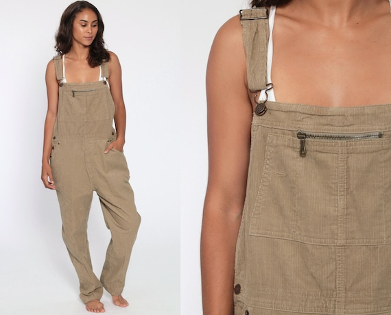 Corduroy Overalls GAP 90s Grunge Suspender Pants 80s Baggy Bib Cargo Tan Vintage Dungarees 1990s Streetwear Coveralls Retro Small Medium