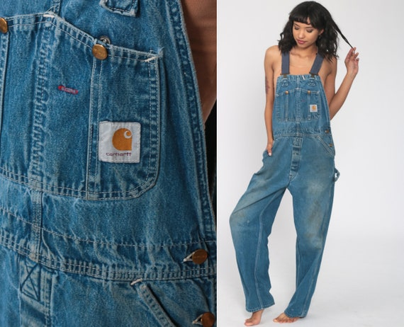 Carhartt Overalls Distressed Bib Jean Overalls 90s Denim Pants Dungarees Utilitarian Suspender Blue Pants Vintage 1990s Utility Small Medium