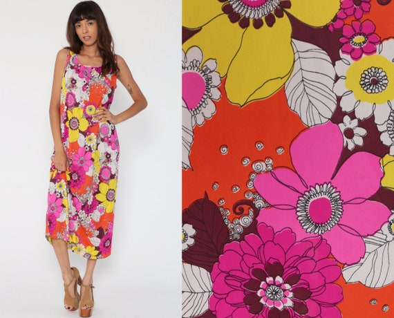 Floral Lounge Dress 70s Hippie Maxi Dress Nylon Loungewear Flower Power Nightgown Lounge Wear Boho Pink Yellow Bohemian Vintage Medium Large