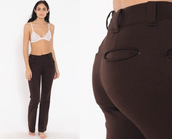 Brown Bell Bottoms Pants 26 -- 70s Boho Hippie Bellbottom Pants High Waisted 1970s Vintage Bohemian Trousers High Rise Small 4
