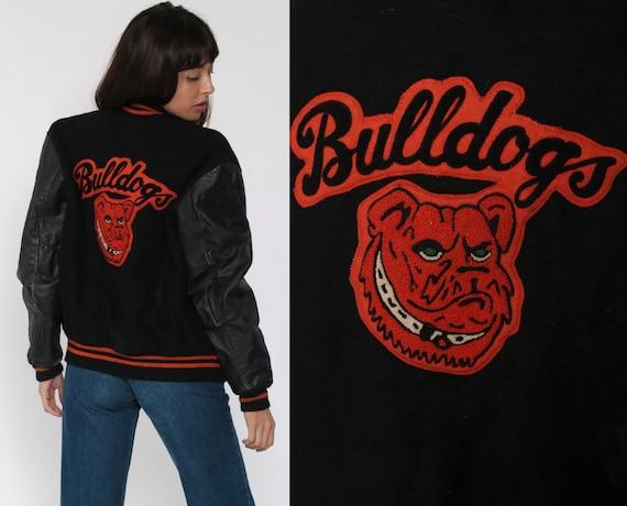Wool Letterman Jacket BULLDOGS Jacket Varsity Jacket Black Dog Mascot Baseball Jacket Football Bomber 80s Coat Sports Vintage Medium