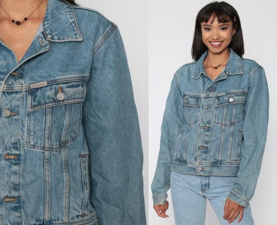 Calvin Klein Jacket 90s Denim Jacket Jean Jacket Grunge Biker CK Jean Jacket Vintage Button Up Hipster Blue Trucker Jacket Small Medium