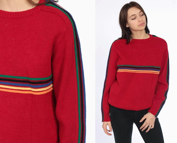 80s Rainbow Sweater -- 1980s Red Striped Knit Jumper Pullover Ski Slouchy Colorful Stripes 1980s Boho Slouch Vintage Retro Small