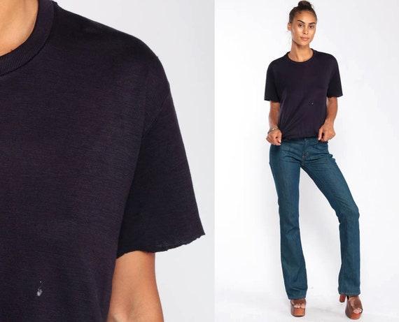 Raw Hem Shirt Navy Blue T Shirt Plain TShirt Crew Neck Shirt 80s T Shirt Raw Edge Retro Tee Vintage Basic Normcore Medium Large
