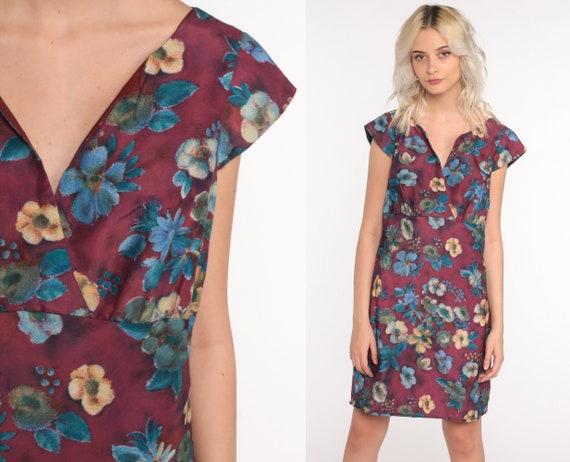 Purple Floral Dress Mini Button Back Dress 80s Vintage Dress High Waist Short Cap Sleeve Retro Medium