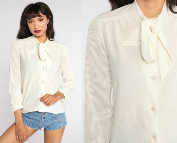 80s Ascot Shirt Off-White Secretary Blouse Pleated Long Sleeve Top 80s Bow Neck Ascot Top Button Up Vintage 70s Long Sleeve Shirt Small