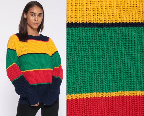 90s Striped Sweater -- Knit Green Yellow Red Slouchy Sweater Jumper Pullover Unisex 80s Colorful Oversized Boyfriend Fit Medium Large