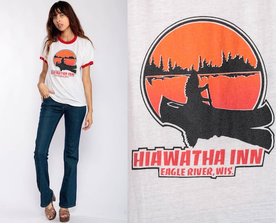 Ringer Tee Shirt HIAWATHA INN 80s Canoe Shirt Eagle River Wisconsin Paper Thin Vintage Burnout Tshirt Retro T Shirt 1980s Small