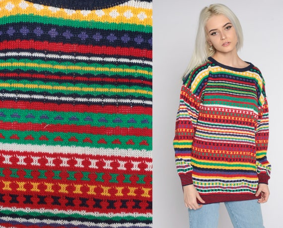 Striped Geometric Sweater 90s Sweater Cotton Ramie Pullover sweater Slouch Statement Knit 1990s Vintage Red Green Yellow Large L