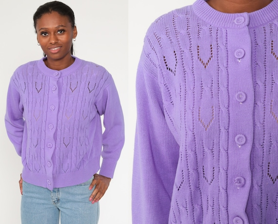 Purple Pointelle Cardigan 70s Sweater Grandma 1970s Vintage Open Weave Sheer Textured 80s Slouchy vtg Preppy Nerd Button Up Large xl