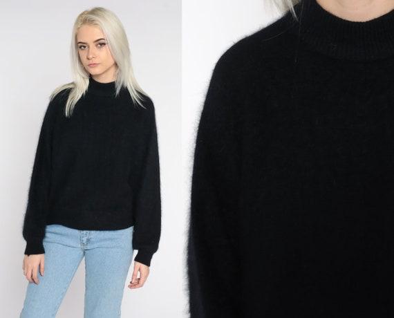 Angora Wool Sweater 80s Knit Sweater Black Wool Sweater Pullover Jumper Plain 1980s Vintage Small