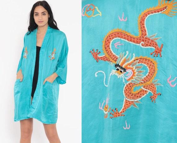 Dragon Robe Turquoise Satin Robe Asian Kimono Robe Jacket Embroidered Dressing Gown Bohemian Wrap Vintage Boho Hippie Large