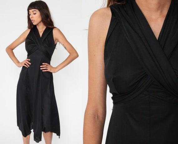 Black Party Dress Grecian Dress 70s Midi Dress 1970s Boho Empire Waist Deep V Neck Sleeveless High Low Drape Gown Formal Medium 8
